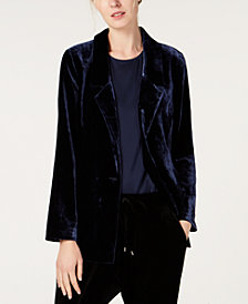 Eileen Fisher Velvet Single-Button Blazer