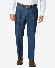Haggar Men's Big & Tall Stretch Denim Classic-Fit Pleated Pants