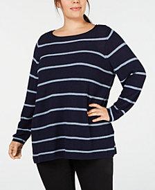 Eileen Fisher Plus Size Striped Bateau-Neck Tunic Sweater