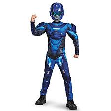 Halo Blue Spartan Classic Muscle Big Boys Costume