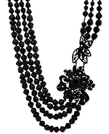 """Anne Klein Black-Tone Crystal & Bead Multi-Row 16"""" Collar Necklace, Created for Macy's"""