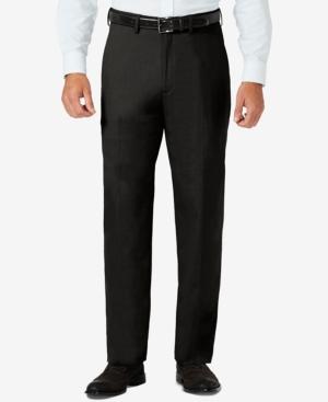 Sharkskin Classic-Fit Flat Front Hidden Expandable Waistband Dress Pants