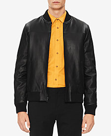 Calvin Klein Men's Leather Bomber Jacket