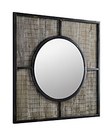 32 inch Square metal and wood frame with circle mirror