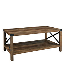 40 inch Metal X Coffee Table in Rustic Oak and Black