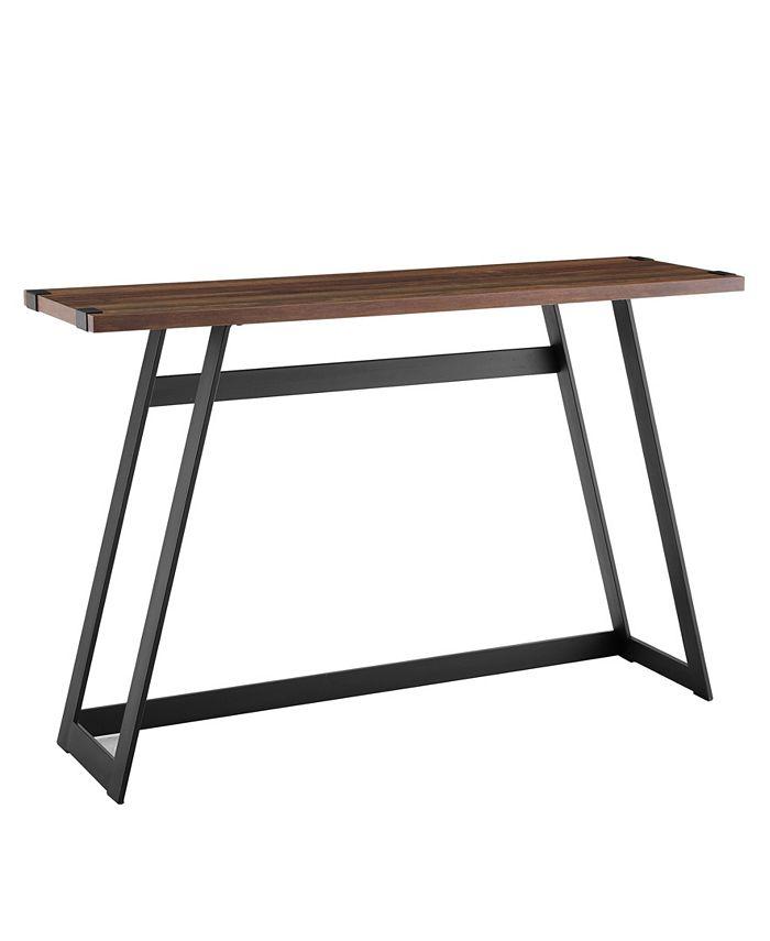 Walker Edison - 46 inch Metal Wrap Entry Table in Dark Walnut