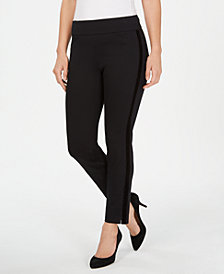 Charter Club Petite Velvet-Stripe Pull-On Pants, Created for Macy's