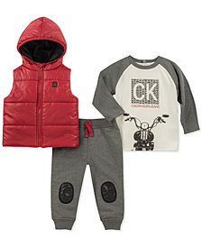 Calvin Klein Baby Boys 3-Pc. Hooded Vest, Motorcycle-Print T-Shirt & Jogger Pants Set