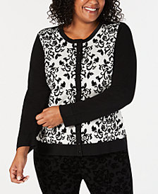 Charter Club Plus Size Floral-Print Cardigan, Created for Macy's