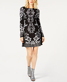 I.N.C. Printed Sweater Dress, Created for Macy's