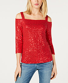 I.N.C. Petite Sequin Cold-Shoulder Top, Created for Macy's