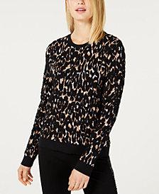 I.N.C. Leopard-Print Puffy Sweater, Created for Macy's