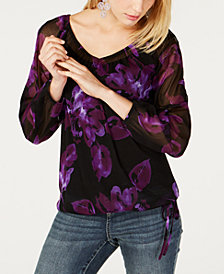 I.N.C. Petite Long Sleeve Tie-Hem Peasant Top, Created for Macy's