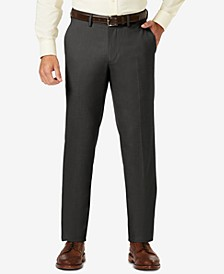J.M. Sharkskin Straight Fit Flat Front Flex Waistband Dress Pants