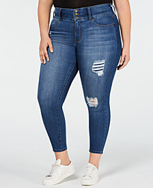 Celebrity Pink Trendy Plus Size Distressed Stretch-Waistband Skinny Jeans