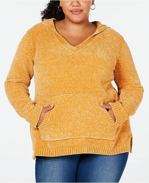 Planet Gold Trendy Plus Size Hooded Chenille Sweater Sweaters