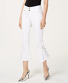 Thalia Sodi Cropped Ruffled Jeans