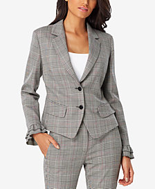 Tahari ASL Plaid Ruffled-Sleeve Blazer