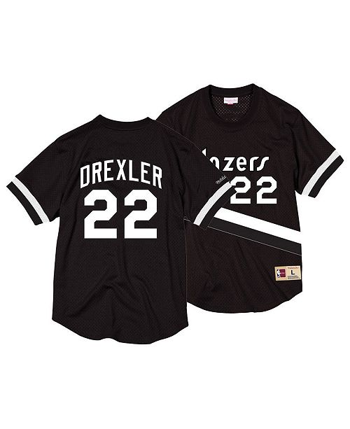 f464bece ... Mitchell & Ness Men's Clyde Drexler Portland Trail Blazers Black &  White Mesh Name and Number ...