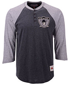 Mitchell & Ness Men's Oakland Raiders Four Button Henley T-Shirt