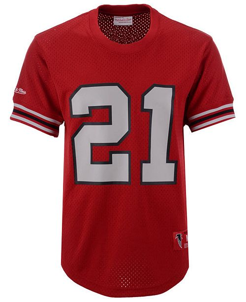 buy online ace34 317ed Men's Deion Sanders Atlanta Falcons Mesh Name and Number Crewneck Jersey