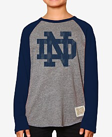 Retro Brand Notre Dame Fighting Irish Raglan Long Sleeve T-Shirt, Big Boys (8-20)