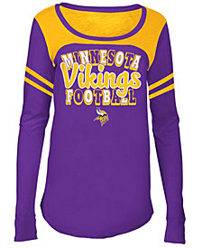 5th & Ocean Minnesota Vikings Sleeve Stripe Long Sleeve T-Shirt, Girls (4-16)