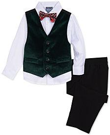 Nautica Baby Boys 4-Pc. Plaid Bow Tie, Velvet Vest, Shirt & Pants Set