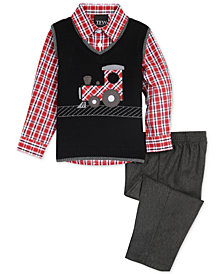 Nautica Baby Boys 3-Pc. Train Sweater Vest, Plaid Shirt & Pants Set