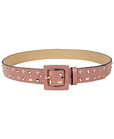 MICHAEL Michael Kors Studded Metallic-Logo Belt
