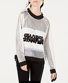 Starter Sequin-Logo Mesh Sweatshirt