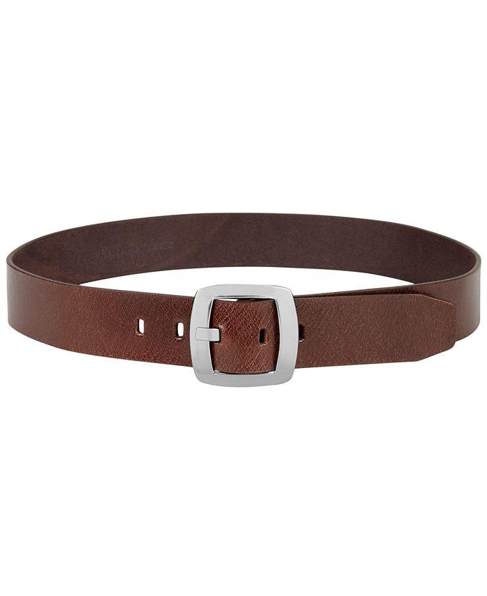 Calvin Klein - Leather Pant Belt with Centerbar Buckle Belt