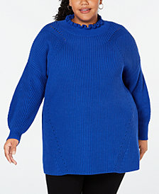 525 America Plus Size Cotton Ruffled-Neck Sweater, Created for Macy's