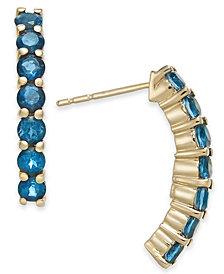 London Blue Topaz Curved Bar Drop Earrings (1-1/2 ct. t.w.) in 14k Gold