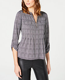 NY Collection Petite Plaid Pleated Top