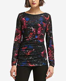 DKNY Printed Mesh Draped Top, Created for Macy's