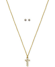 "Kitsch Gold-Tone Crystal Cross Pendant Necklace & Stud Earrings Set, 18"" + 1"" extender"
