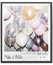 "Kitsch Gold-Tone Crystal Wishbone Pendant Necklace & Stud Earrings Box Set, 18"" + 1"" extender"