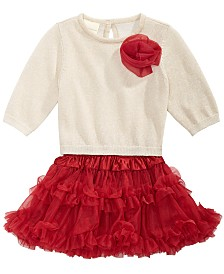 First Impressions Baby Girls 2-Pc. Metallic Sweater & Layered Tulle Skirt Set, Created for Macy's