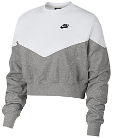 Nike Fleece Colorblocked Cropped Sweatshirt