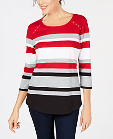 Karen Scott 3/4-Sleeve Scoop-Neck Tori Top, Created for Macy's