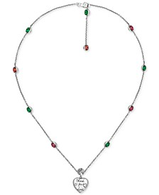 """Cubic Zirconia """"Blind for Love"""" Heart Pendant Necklace in Sterling Silver, 15-1/2"""" + 1"""" extender"""