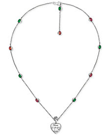 "Gucci Cubic Zirconia ""Blind for Love"" Heart Pendant Necklace in Sterling Silver, 15-1/2"" + 1"" extender"