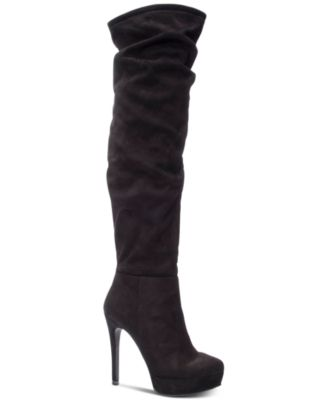 Chinese Laundry Over Knee Boots High Heel Stiletto Platform Black Faux Leather