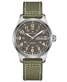 Men's Swiss Automatic Khaki Field Green Nato Fabric Strap Watch 42mm