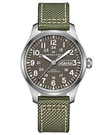 Hamilton Men's Swiss Automatic Khaki Field Green Nato Fabric Strap Watch 42mm