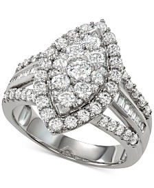 Diamond Marquise Cluster Engagement Ring (2 ct. t.w.) in 14k White Gold