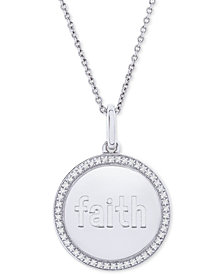 "Diamond Faith Disc 22"" Pendant Necklace (1/10 ct. t.w.) in Sterling Silver"