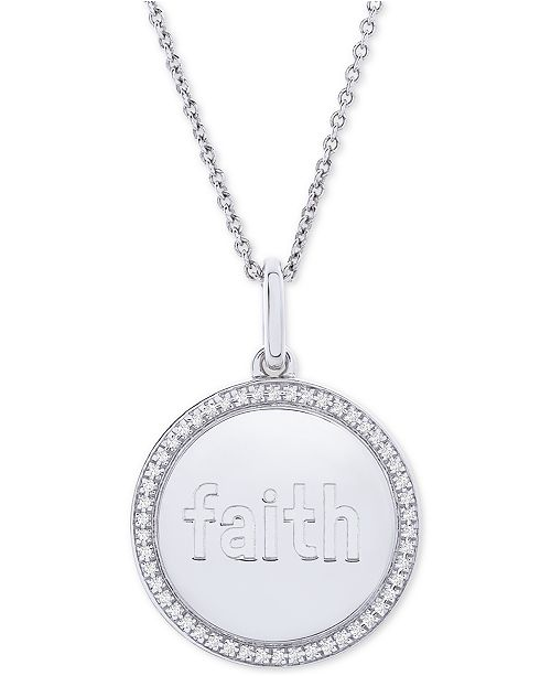 """Macy's Diamond Faith Disc 22"""" Pendant Necklace (1/10 ct. t.w.) in Sterling Silver"""