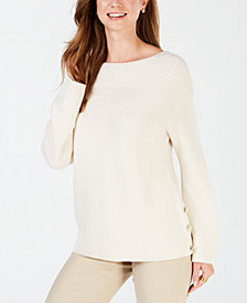 Charter Club Boat-Neck Ribbed-Knit Sweater, Created for Macy's